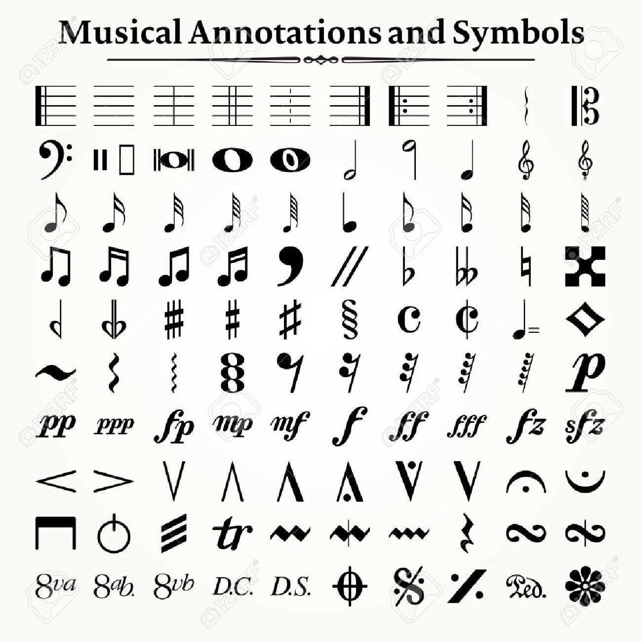 Elements of musical symbols, icons and annotations