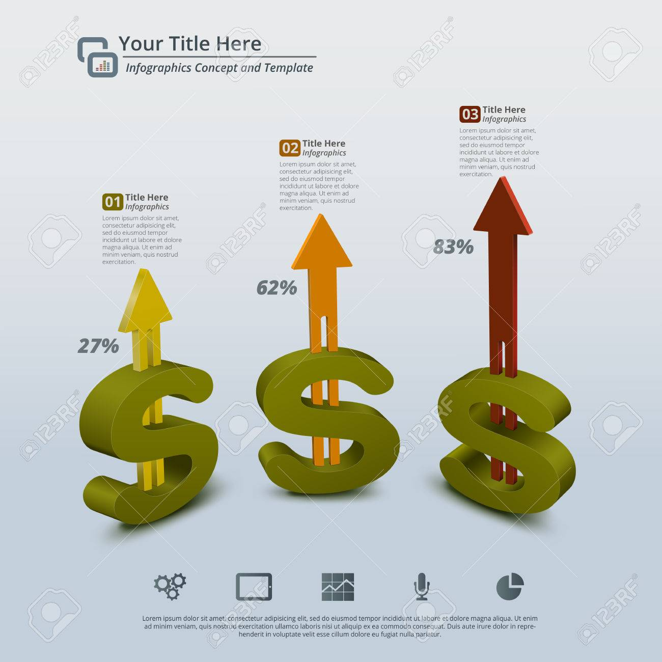 Perspective view of 3d money symbols with arrow moving up on perspective view of 3d money symbols with arrow moving up on a light blue background buycottarizona Choice Image