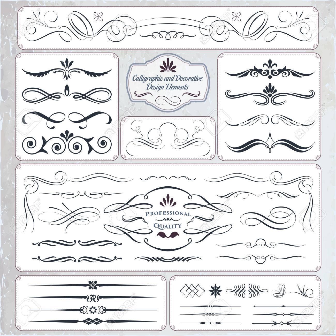 Elementos Decorativos En Formato Caligráfico. Ideal Para El Diseño ...