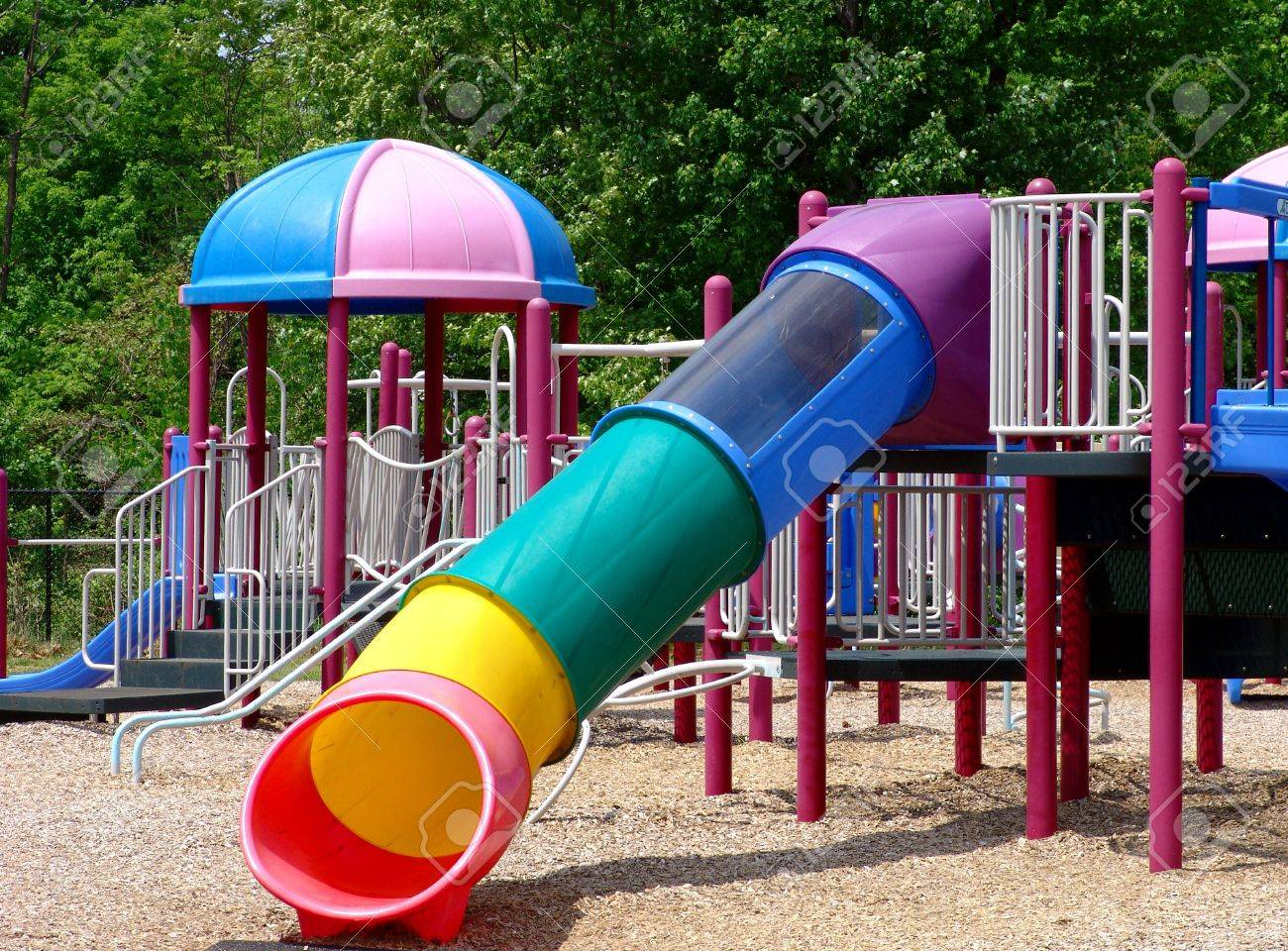 Children�s playground with beautiful slides and exercise setting Stock Photo - 957525