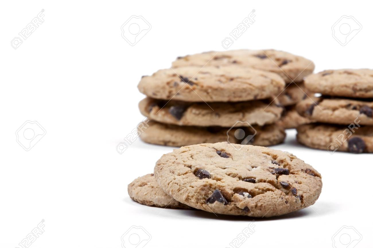 Chocolate chip cookies on a white background Stock Photo - 12001960