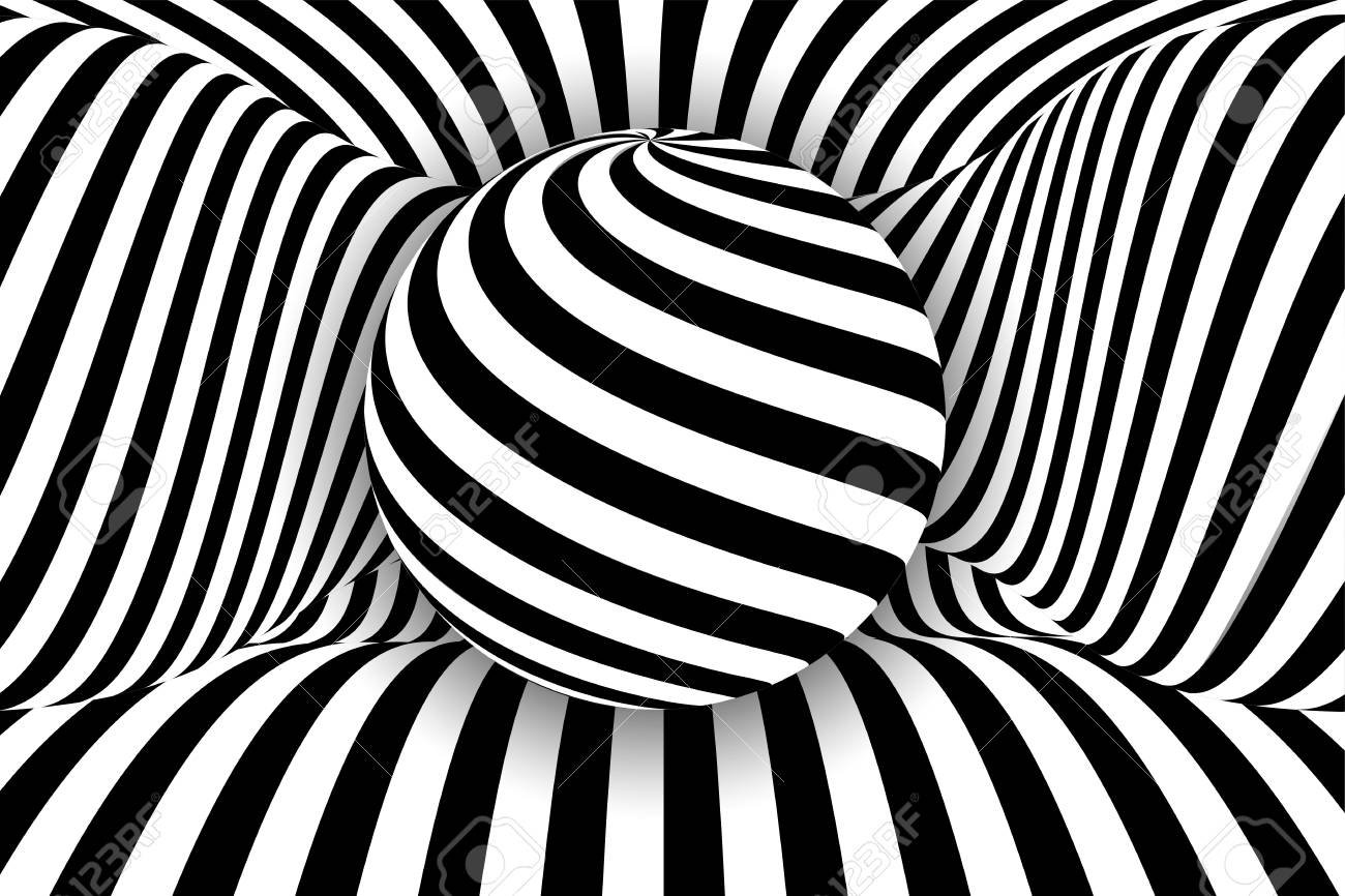 Black white 3d line distortion illusion design vector monochrome background geometric stripped pattern illustration