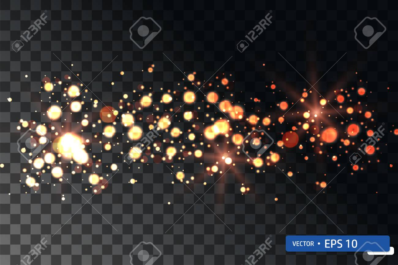 Christmas golden star lights random falling in transparent background