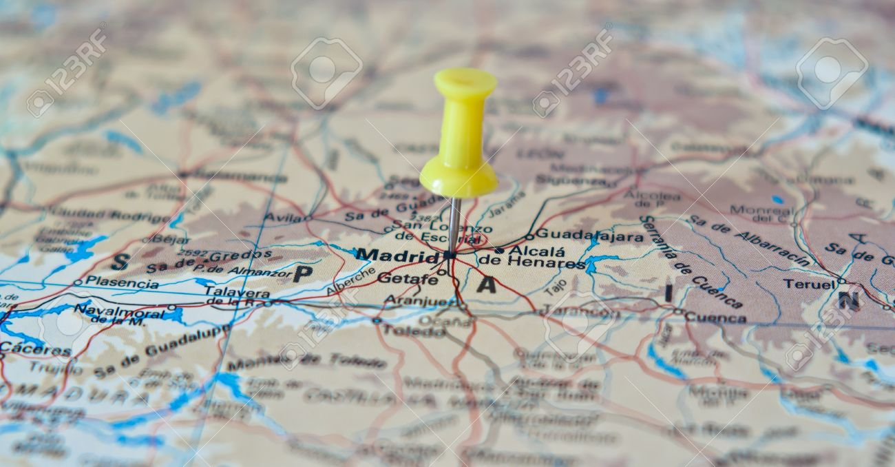 Push Pin Pointing At Madrid, Spain On A Map Stock Photo, Picture And ...