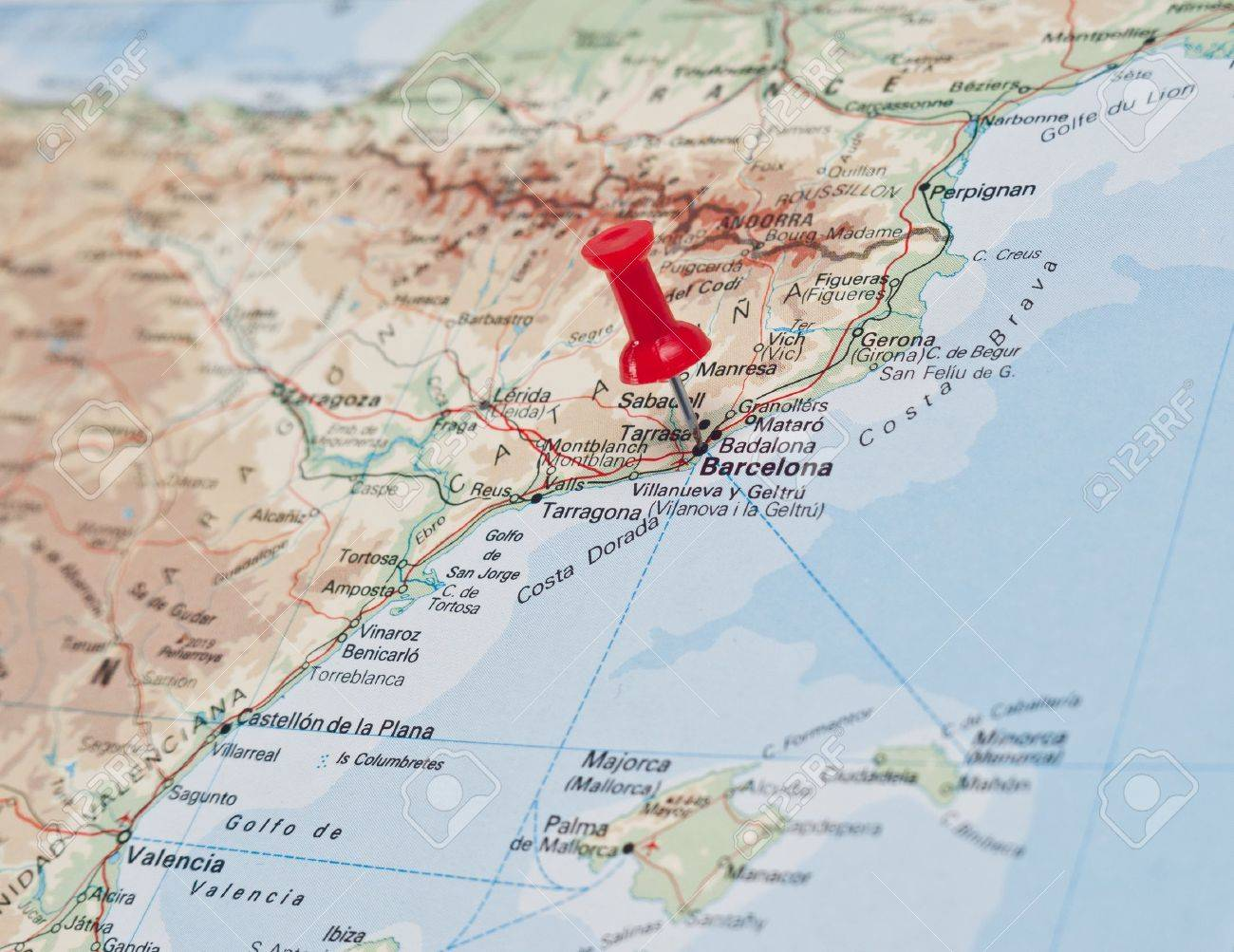 Map Of Coastal Spain.Push Pin Pointing At Barcelona East Coast Of Spain