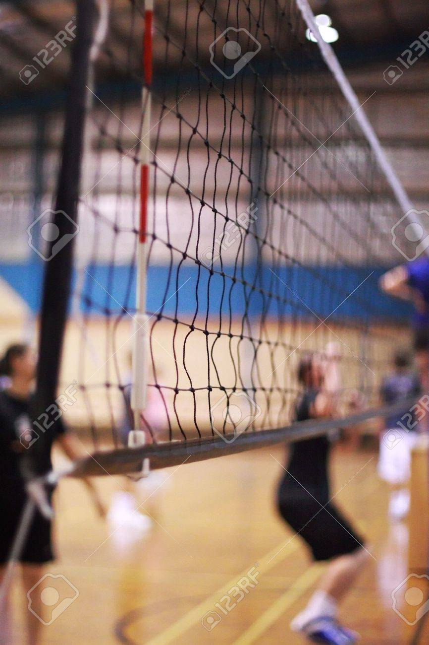 Volleyball Net On An Indoor Court Stock Photo, Picture And Royalty ...