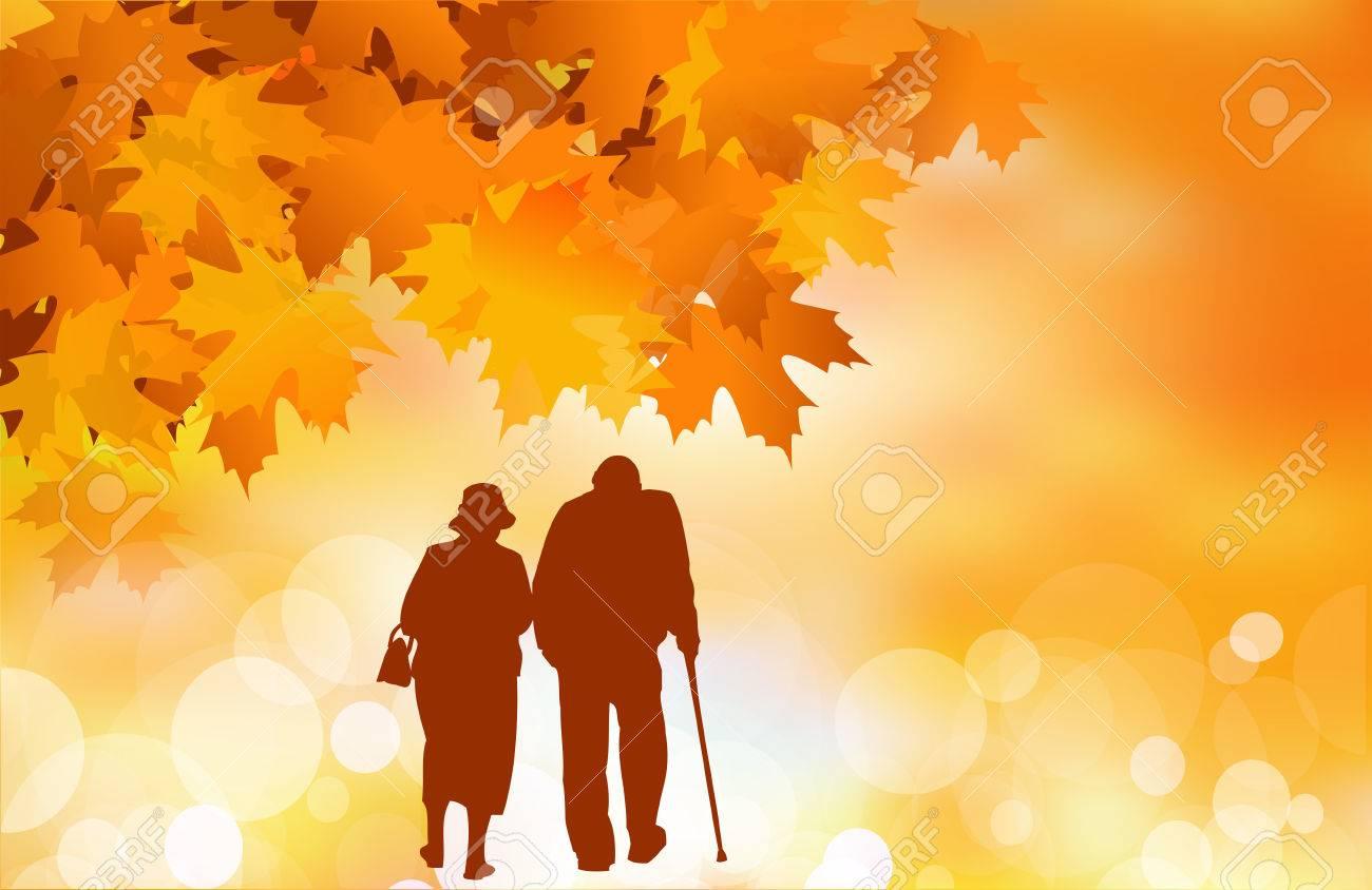 Golden age, senior couple in autumn - 46751203