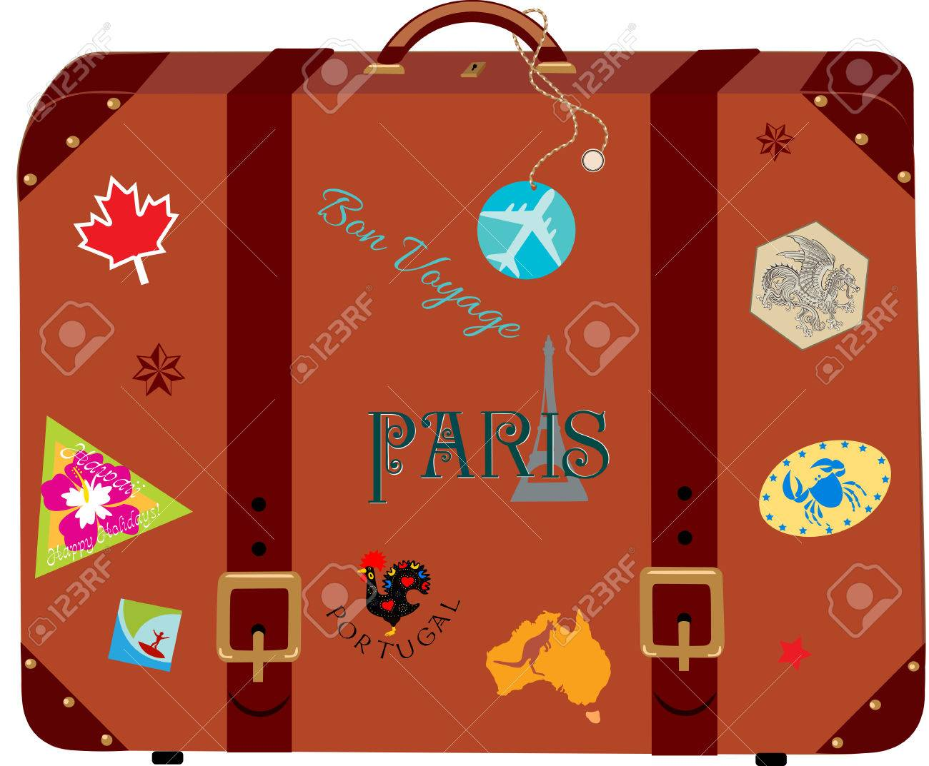 vintage suitcase with the travel stickers royalty free cliparts