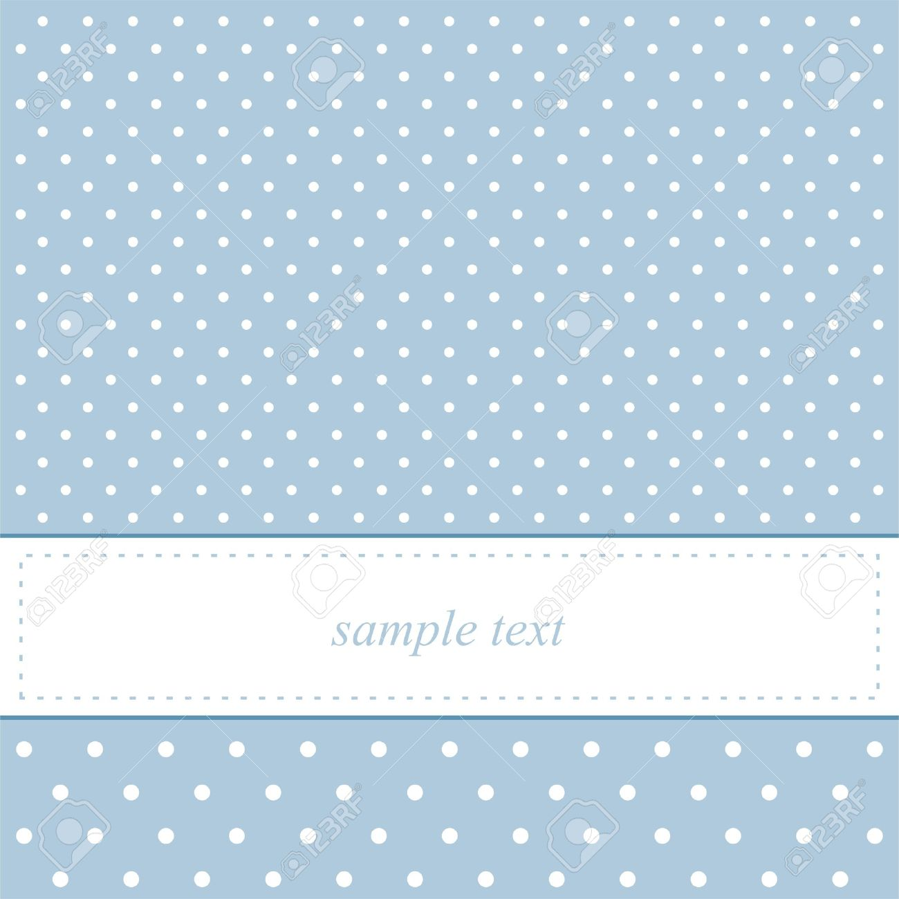Sweet Blue Card Or Invitation Cute Background And Polka Dots White Space To
