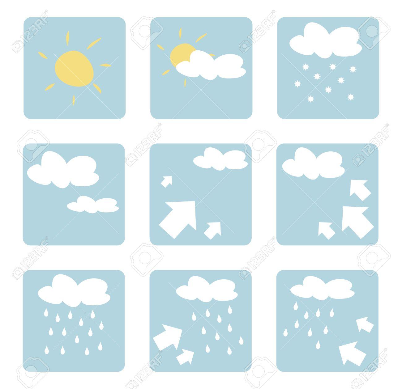 Wetter Icons Illustrationen Clip Art Auf Weißem Hintergrund Mit