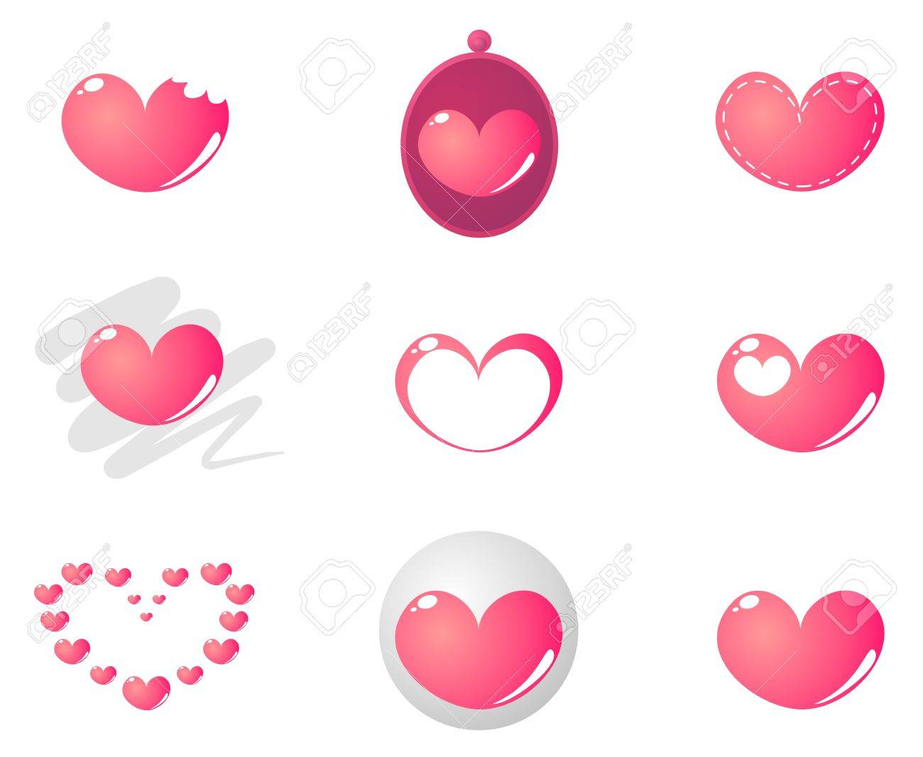 Vector heart shape in 9 combinations isolated on white background Stock Vector - 11892871