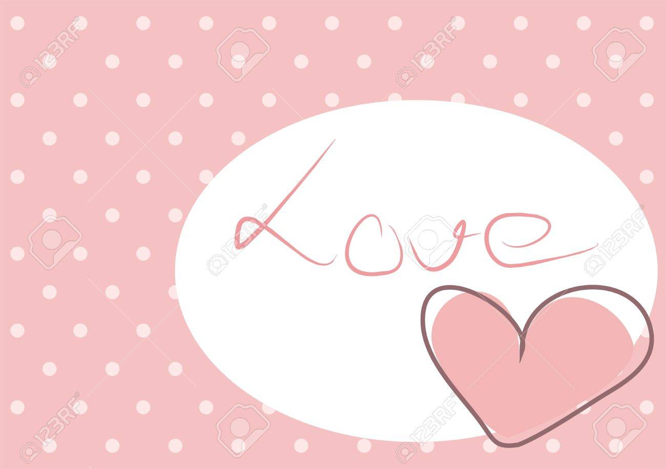 Cute Pink Heart With Polka Dots Background And Love Message On White Space Stock Vector