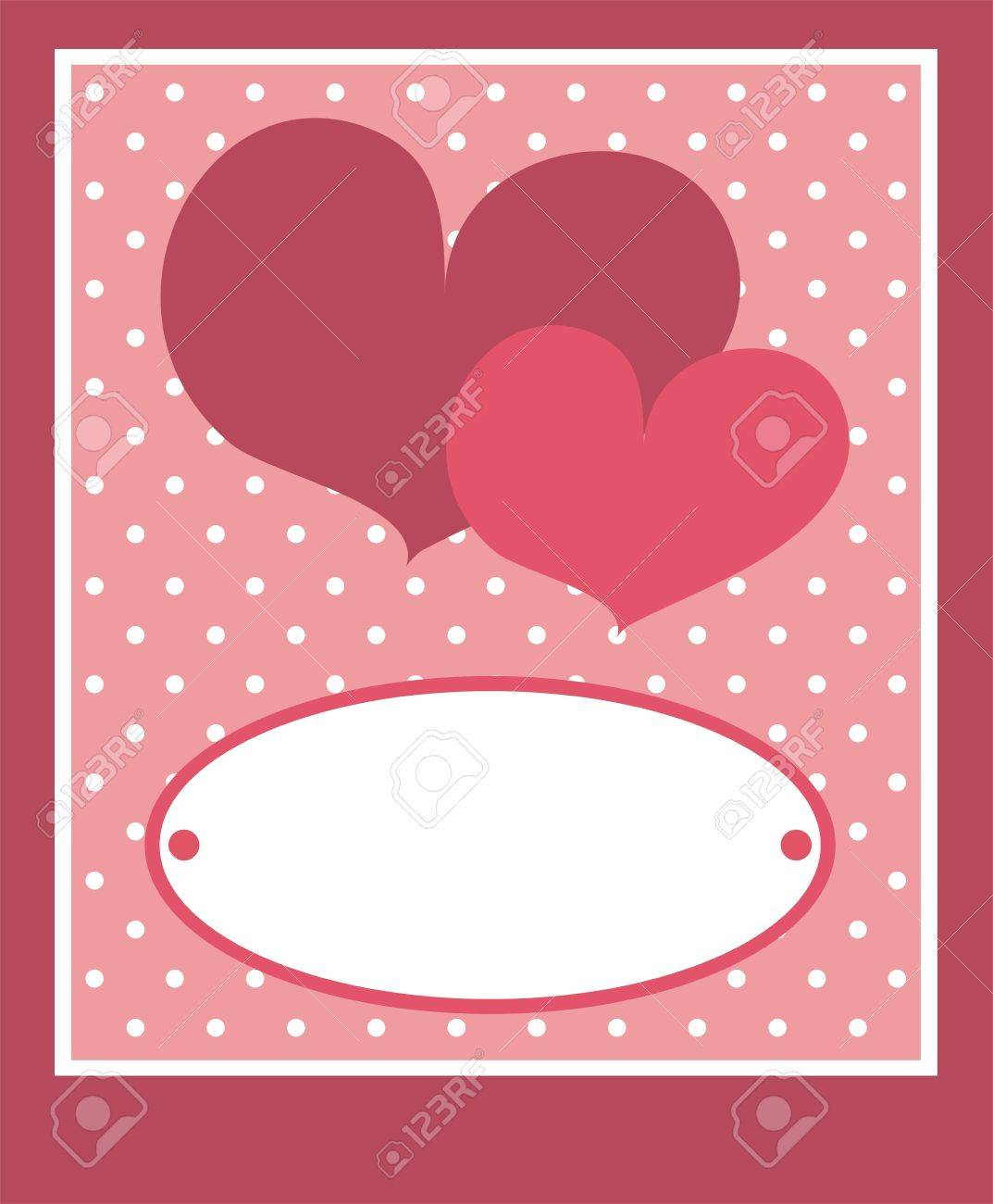 Cute Pink Heart With Dots Background And White Space To Put Your Own Text Message