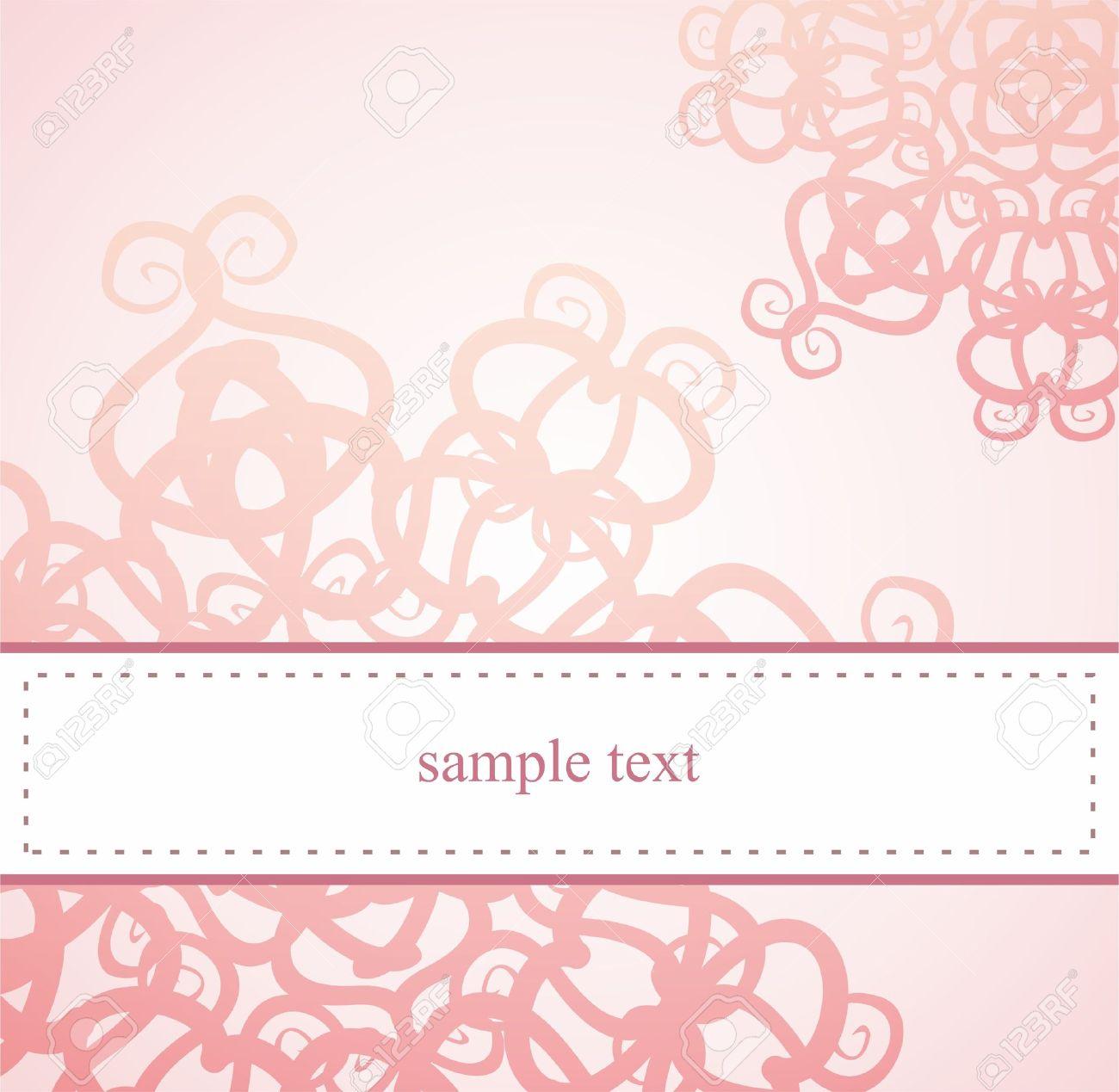 Tarjeta Elegante Classic O Invitación Para La Fiesta Cumpleaños Baby Shower O Boda Con Rosa Con Adornos Florales Abstractos Y El Espacio En Blanco