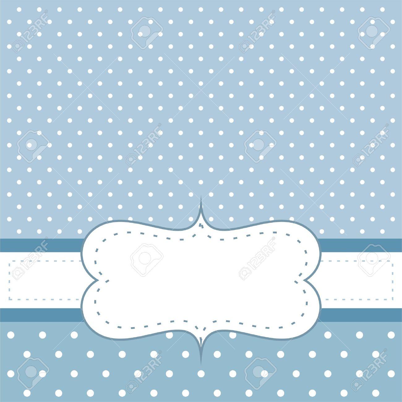Tarjeta De Dulce Azul De Lunares O De La Invitación De Fondo Linda Con El Espacio En Blanco Para Poner Su Propio Mensaje De Texto Cóctel