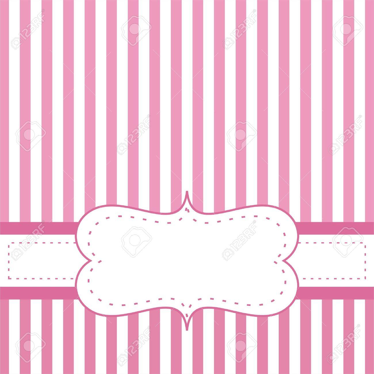 Tarjeta De Invitación De Color Rosa Para Bebé Partido De La Ducha Una Boda O Un Cumpleaños Con Rayas Blancas De Fondo Linda Con El Espacio En Blanco