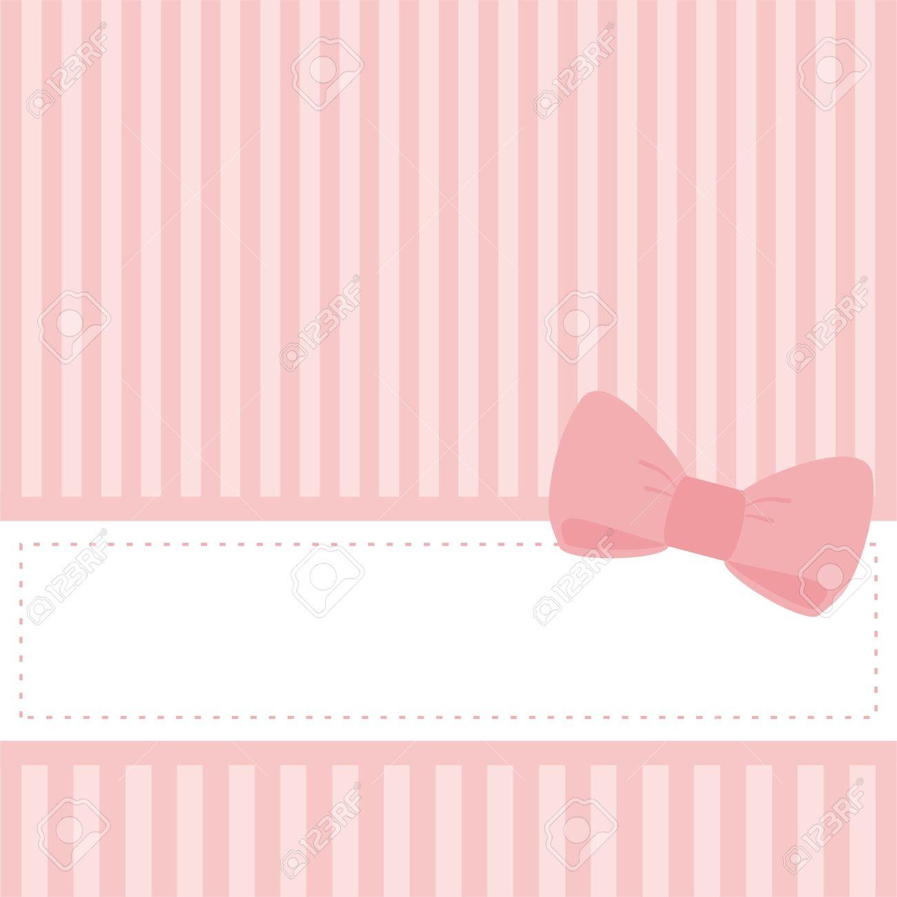 Tarjeta Rosa O Una Invitación Para Que El Bebé Partido De La Ducha ...