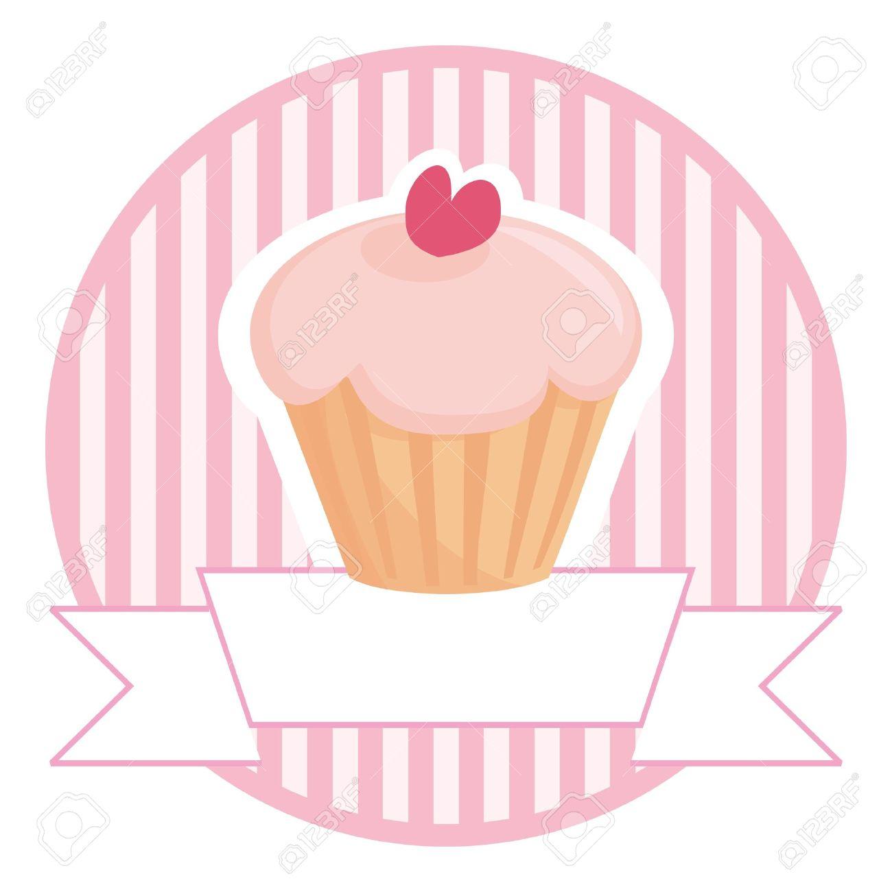 Susses Retro Cupcake Auf Rosa Streifen Vintage Hintergrund Mit Weissen