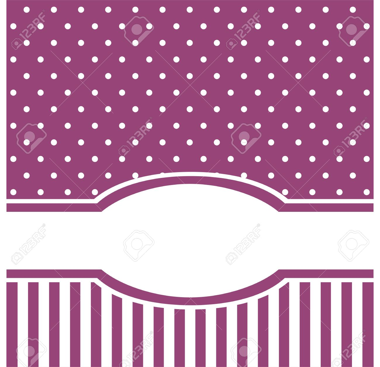Card Or Invitation With White Polka Dots Cute Background With