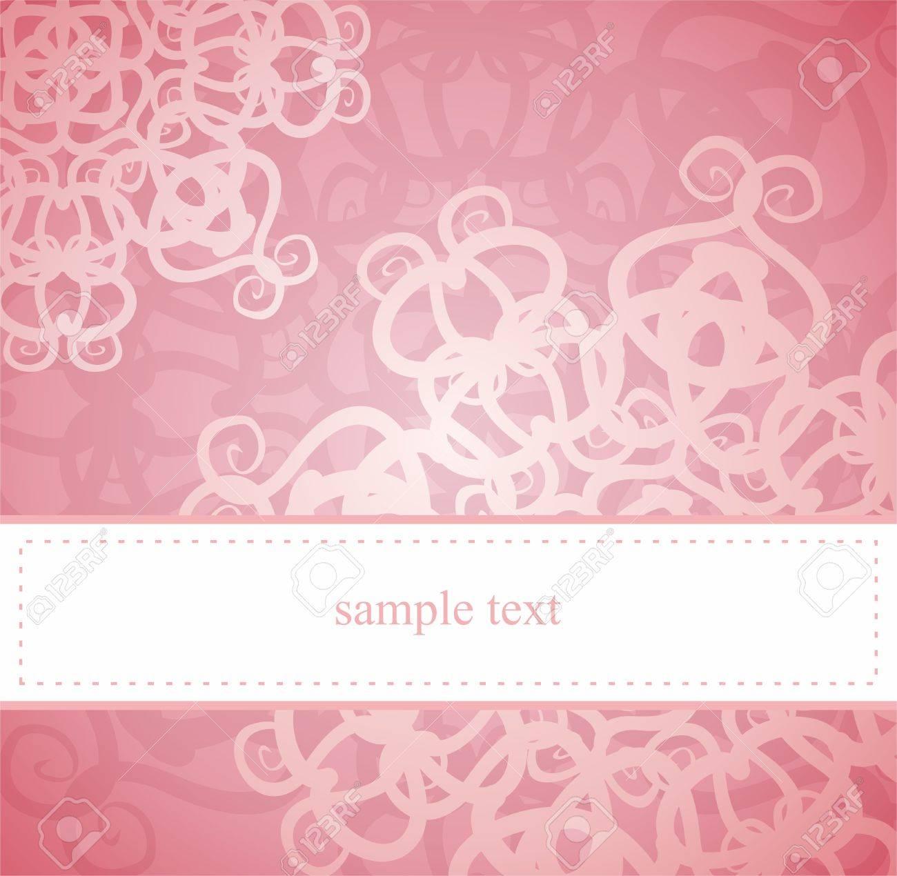Tarjeta Clásica Elegante O La Invitación Para La Fiesta Un Cumpleaños O Una Boda De Color Rosa Con Adornos Florales Abstractos El Espacio En Blanco