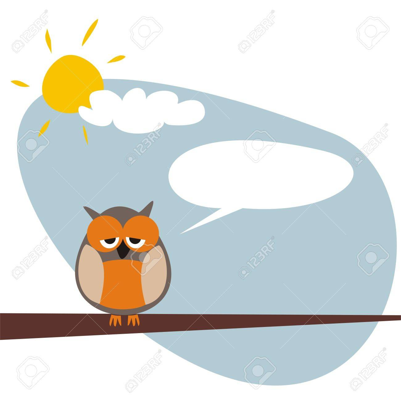 Sweet and funny sleepy talking owl on the tree at sunny day after hard night. Symbol of wisdom and school. Vector illustration Stock Vector - 14593720