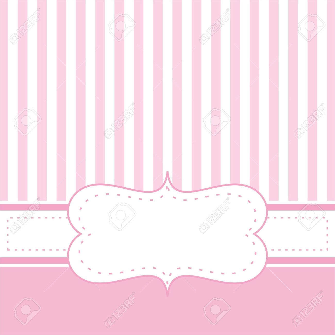 Card invitation template for baby shower, wedding or birthday party with sweet baby pink stripes. Cute background with white space to put your own text. Stock Vector - 14653056
