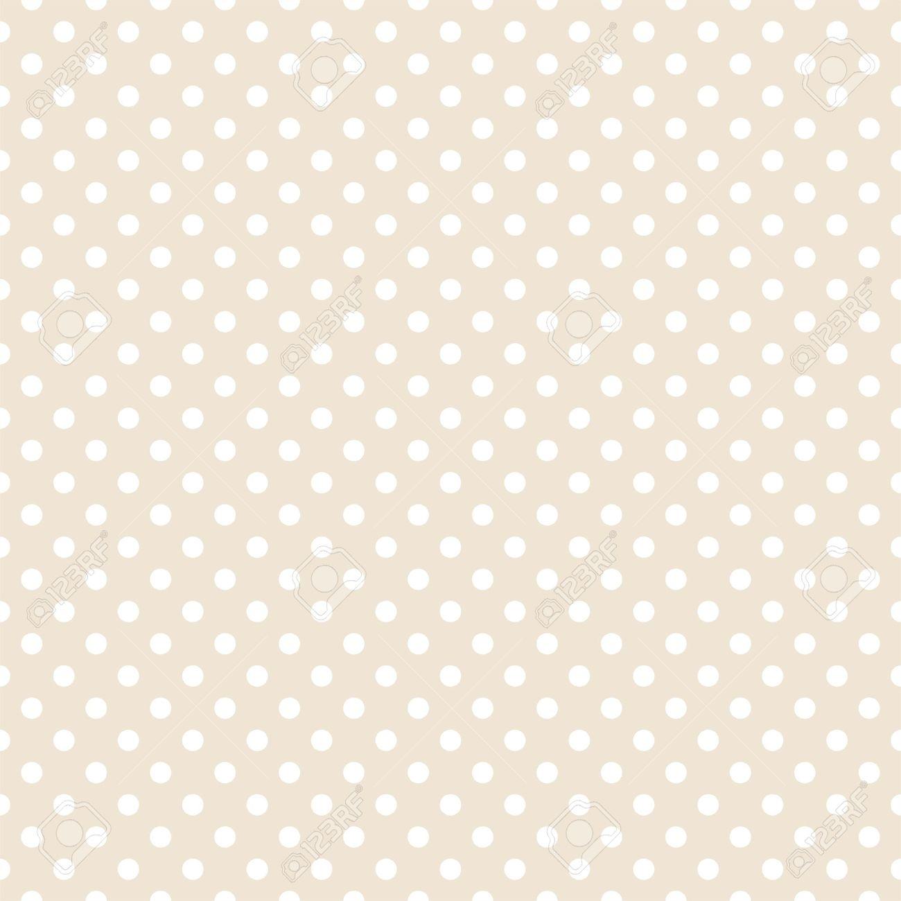 white polka dots on light beige neutral background retro seamless
