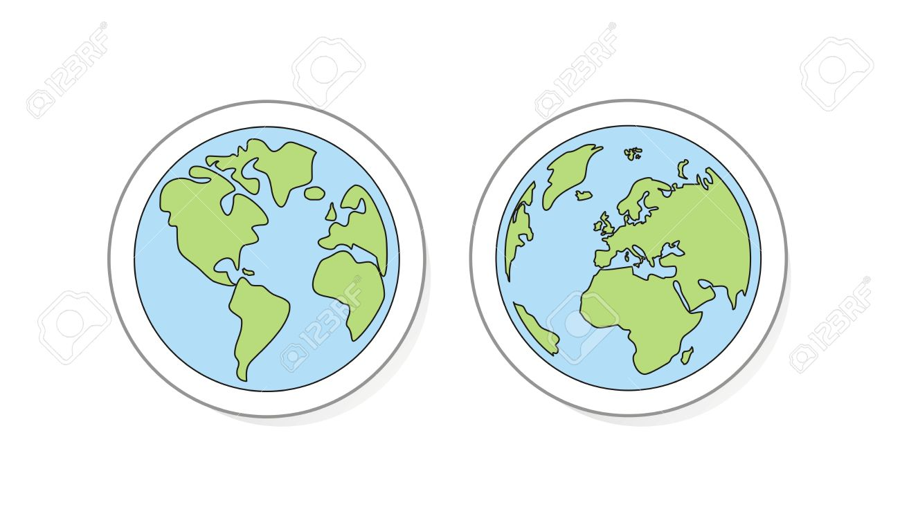 Planet Earth Buttons Icon Sticker Or Logo Hand Draw Doodle