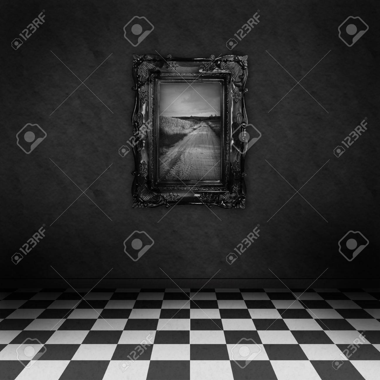 Vacío, Cuarto Oscuro, Psicodélico Con Corrector Blanco Y Negro En El ...