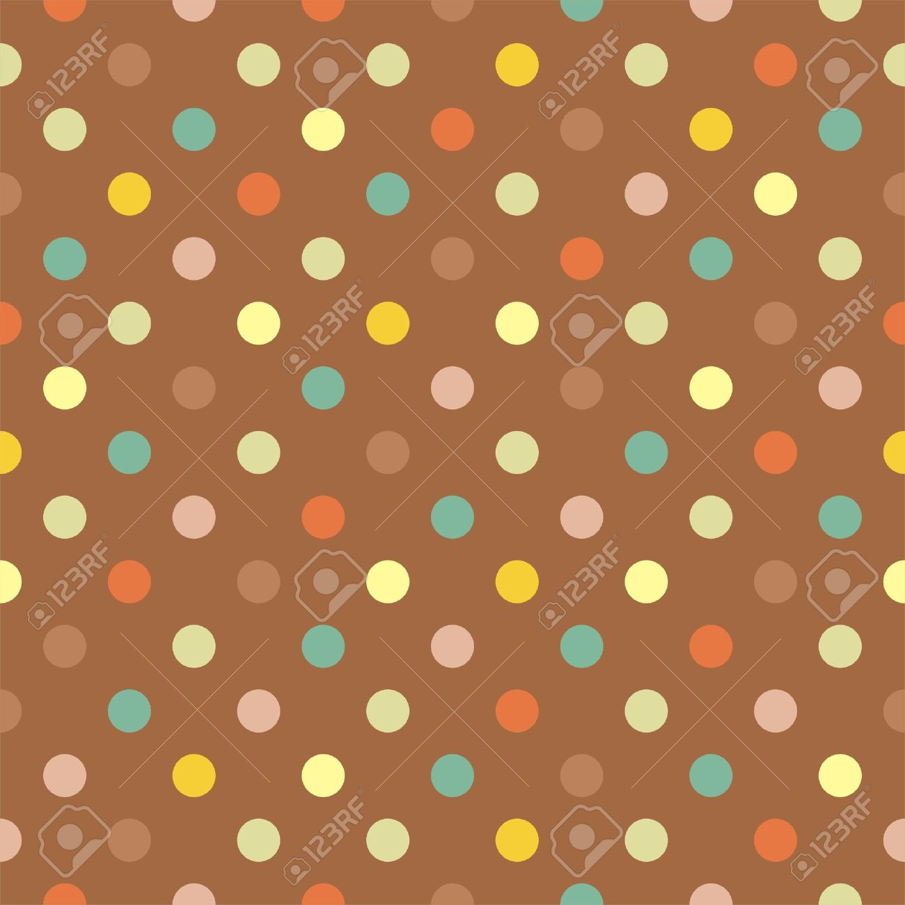 Retro  pattern with blue, yellow, green and red polka dots on neutral brown background - retro seamless pattern for backgrounds, blogs, www, scrapbooks, party or baby shower invitations and wedding cards. Stock Vector - 15216127