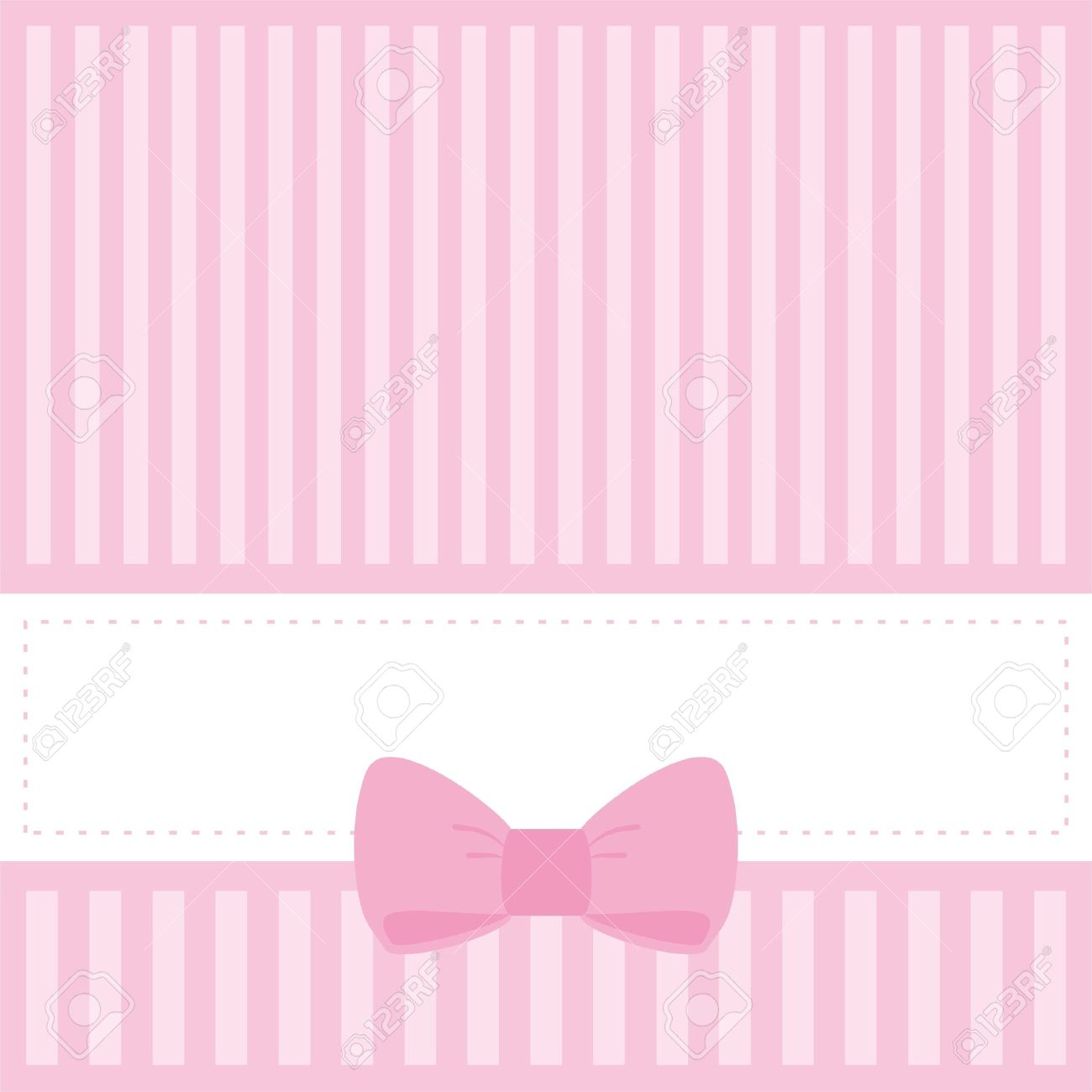 Pink Card Or Invitation For Baby Shower Wedding Birthday Party With Stripes And Sweet