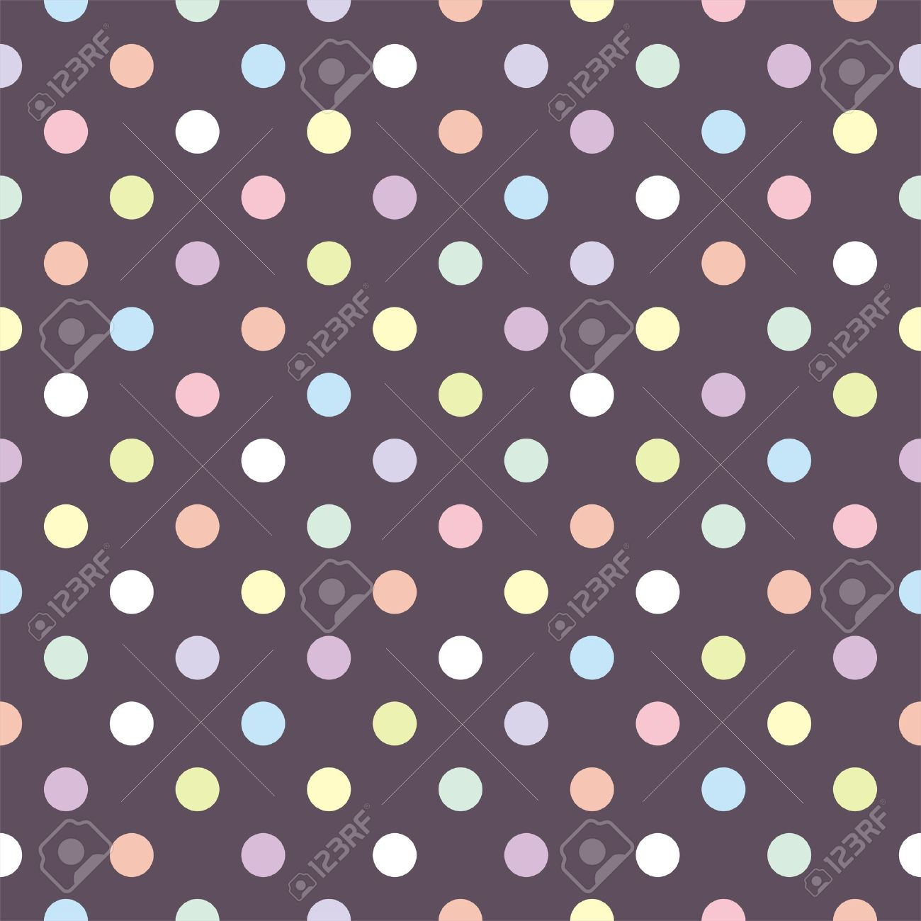 Colorful pastel polka dots on dark brown background Stock Vector - 15496786