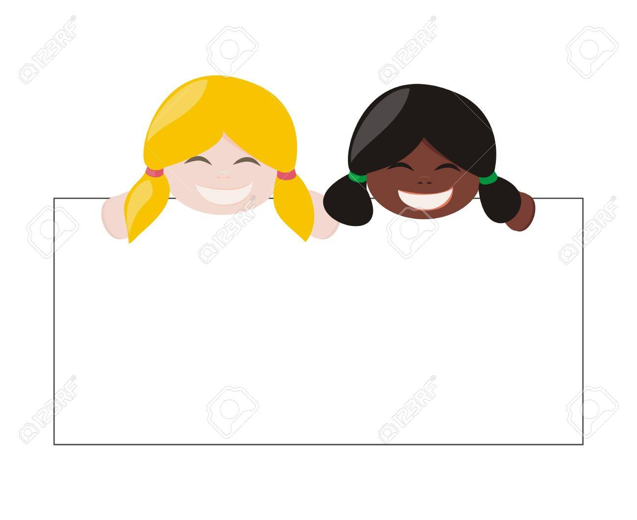 Mulicultural girls with blond and black hair holding white empty banner and laughing Stock Vector - 15393483