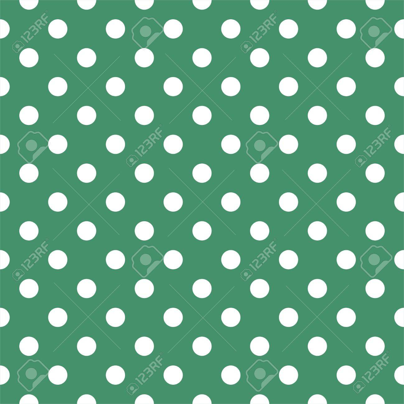 seamless pattern with white polka dots on a retro bottle green background. For cards, invitations, Stock Vector - 15439312