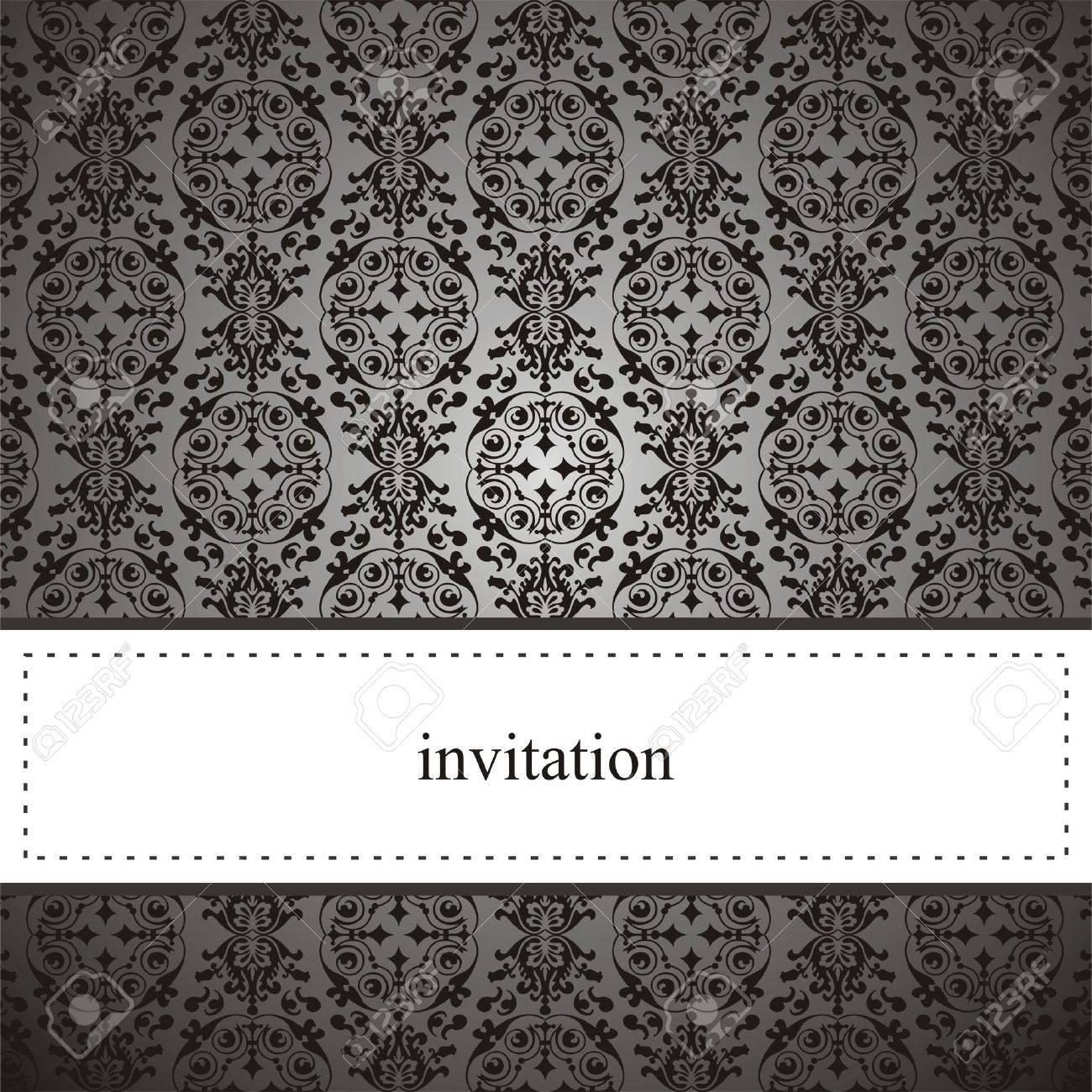 Tarjeta Elegante Clásica O Invitación Para La Fiesta Un Cumpleaños Una Boda De Encaje Negro Y Fondo Gris Oscuro El Espacio En Blanco Para Poner Su