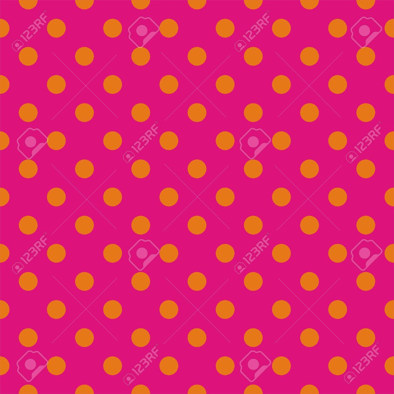 Orange polka dots on neon pink background seamless vector orange polka dots on neon pink background seamless vector pattern for backgrounds blogs voltagebd Images