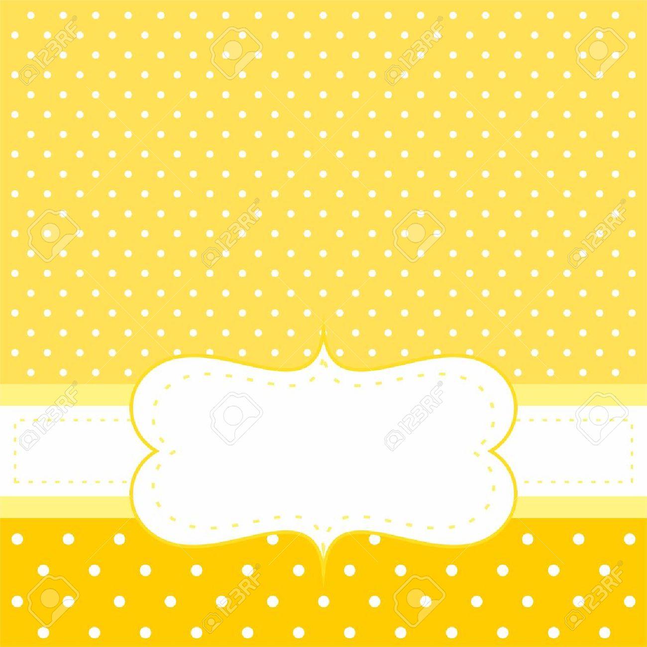 Dulce Invitacion O Tarjeta Con Lunares Blancos Sobre Fondo Amarillo - Espacio-en-blanco-html