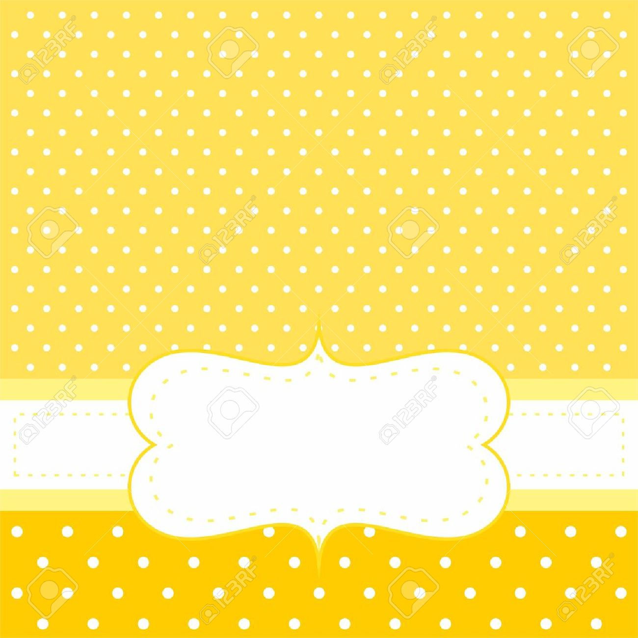 sweet invitation or card with white polka dots on yellow cute background with white space to