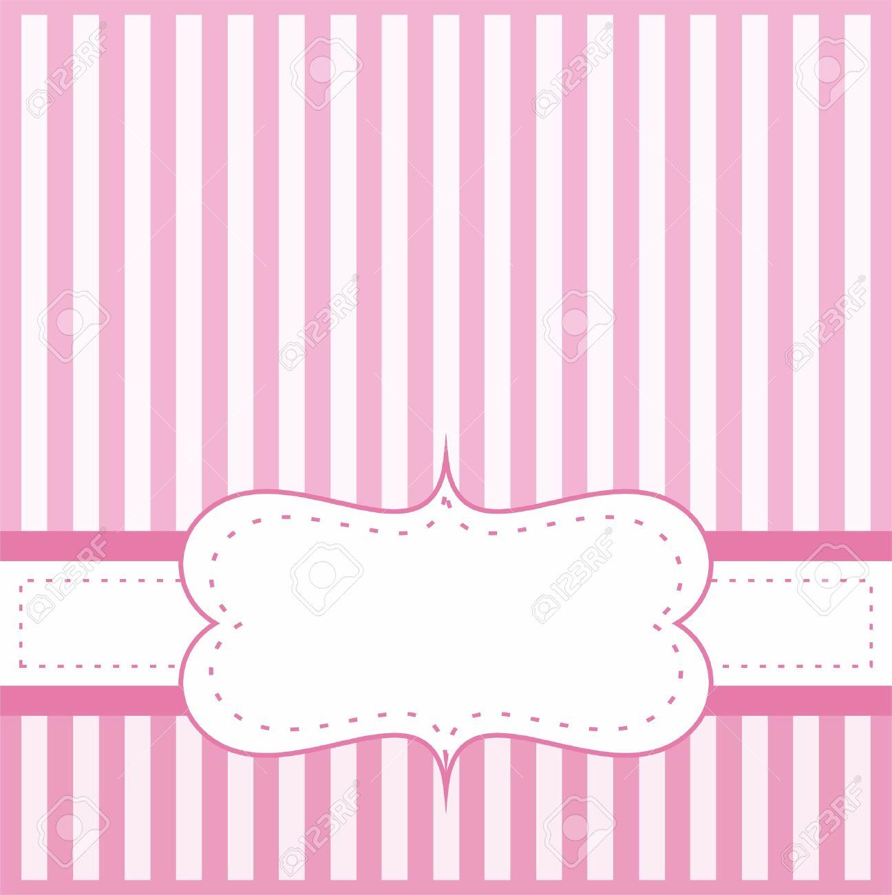 Invitación De La Tarjeta Del Vector De Color Rosa Para Bebé Ducha ...