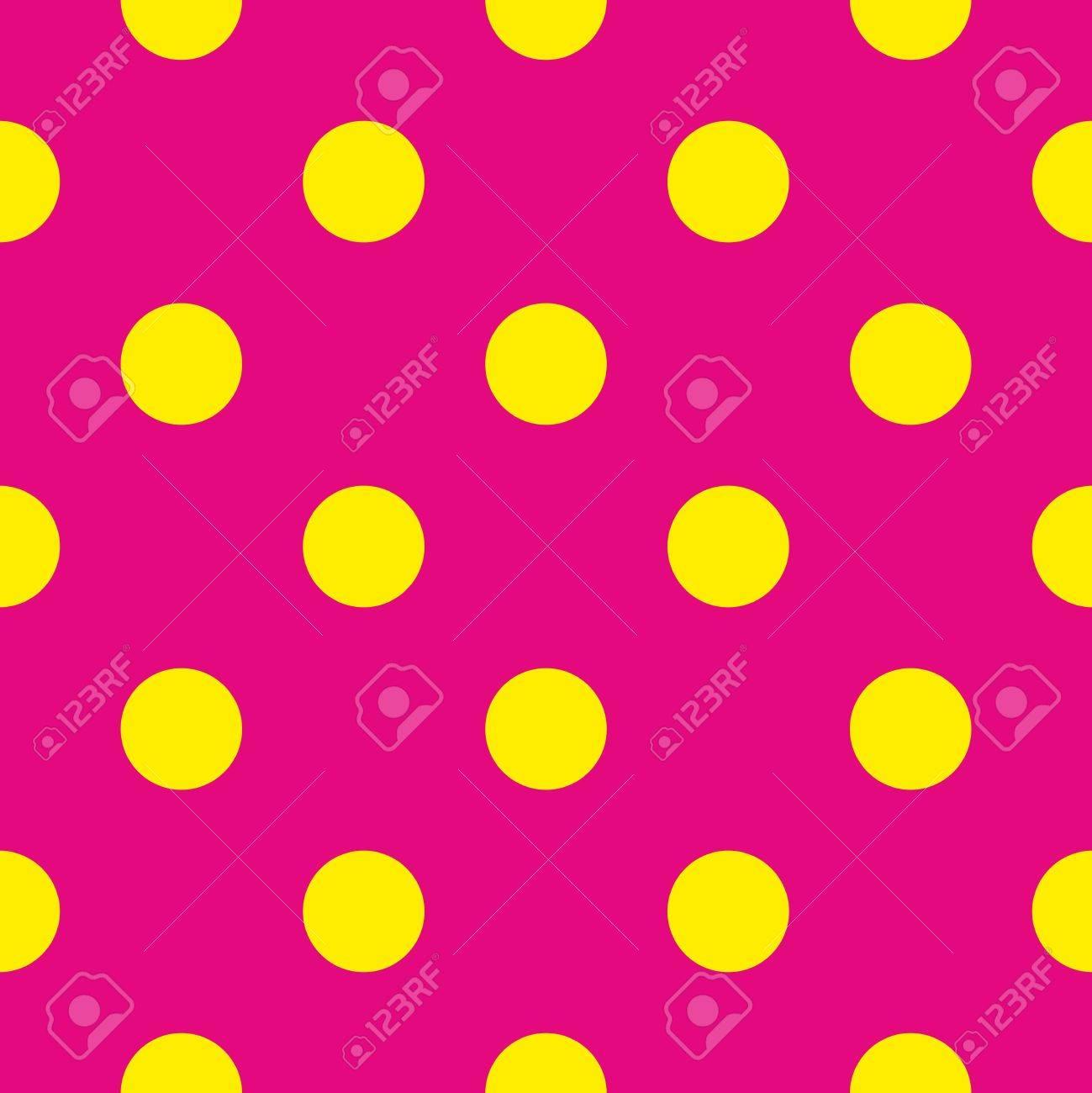 Sin Fisuras Vector Patrón O La Textura Con Grandes Lunares Puntos Amarillos Sobre Fondo De Color Rosa Neón Para Las Tarjetas Invitaciones Páginas