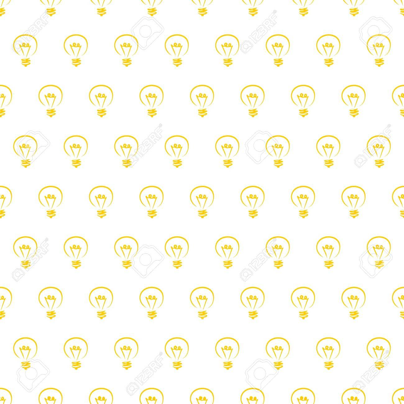 Seamless Vector Pattern Texture Or Background With Light Bulbs On White For Web