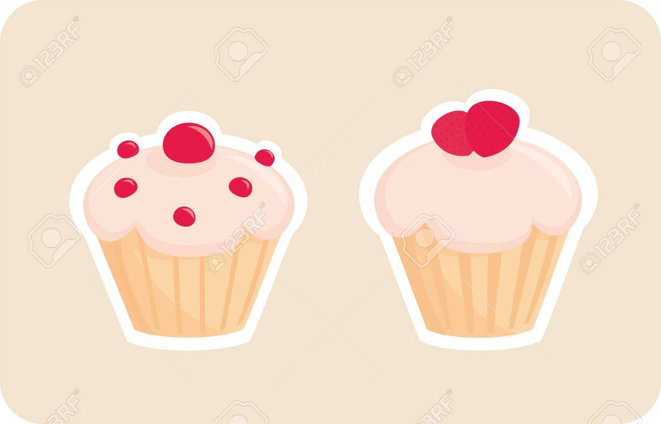 Sweet retro cupcakes silhouettes with red strawberry on top isolated on beige background. I love sweets! Wedding or birthday logo sweet muffins illustration. Stock Vector - 17092707