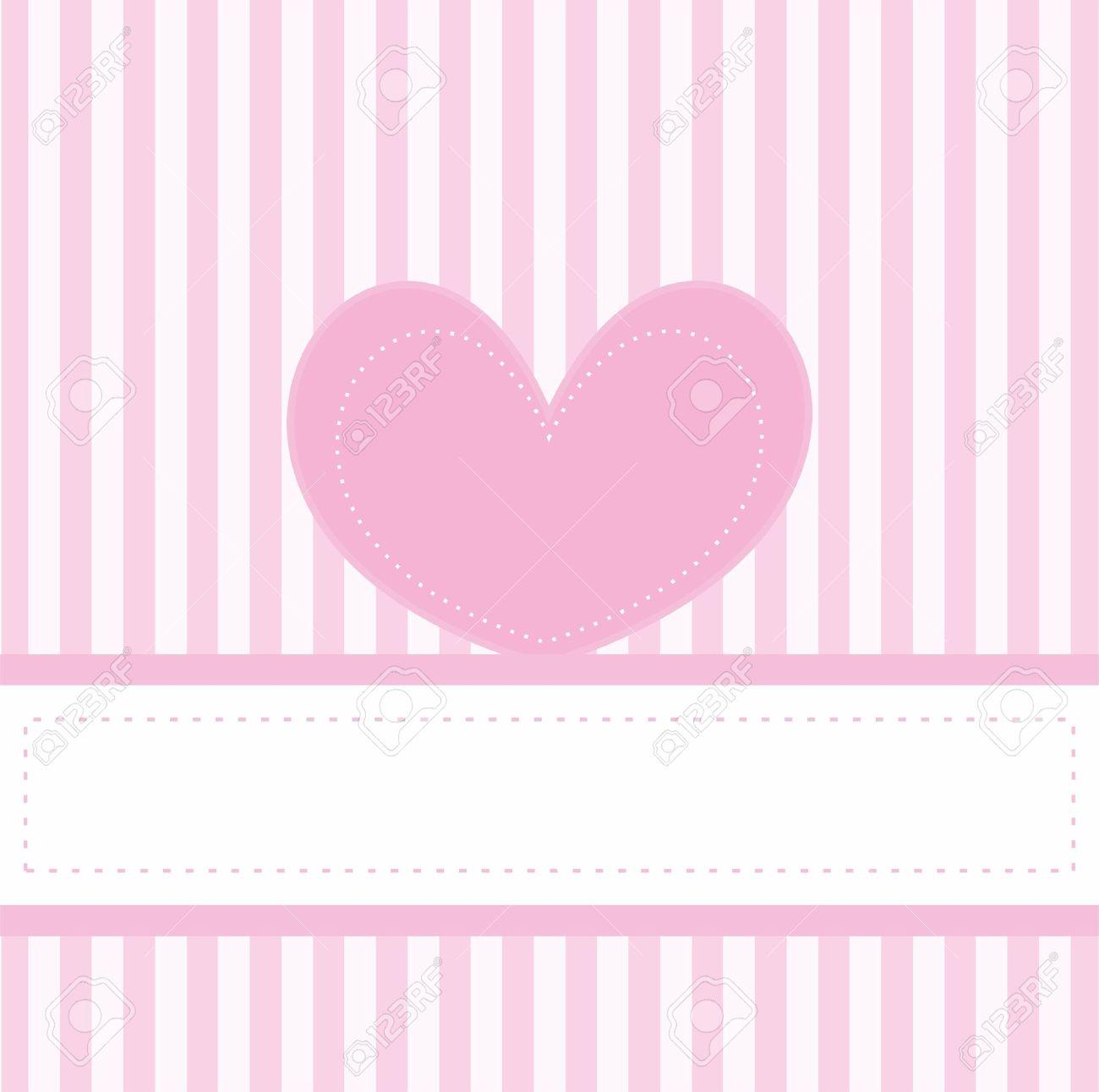 Pink Valentines Tarjeta O Invitación Vector Lleno De Amor Para El Bebé Partido De La Ducha Boda O Cumpleaños Con Rayas Blancas Sobre Fondo Rosado