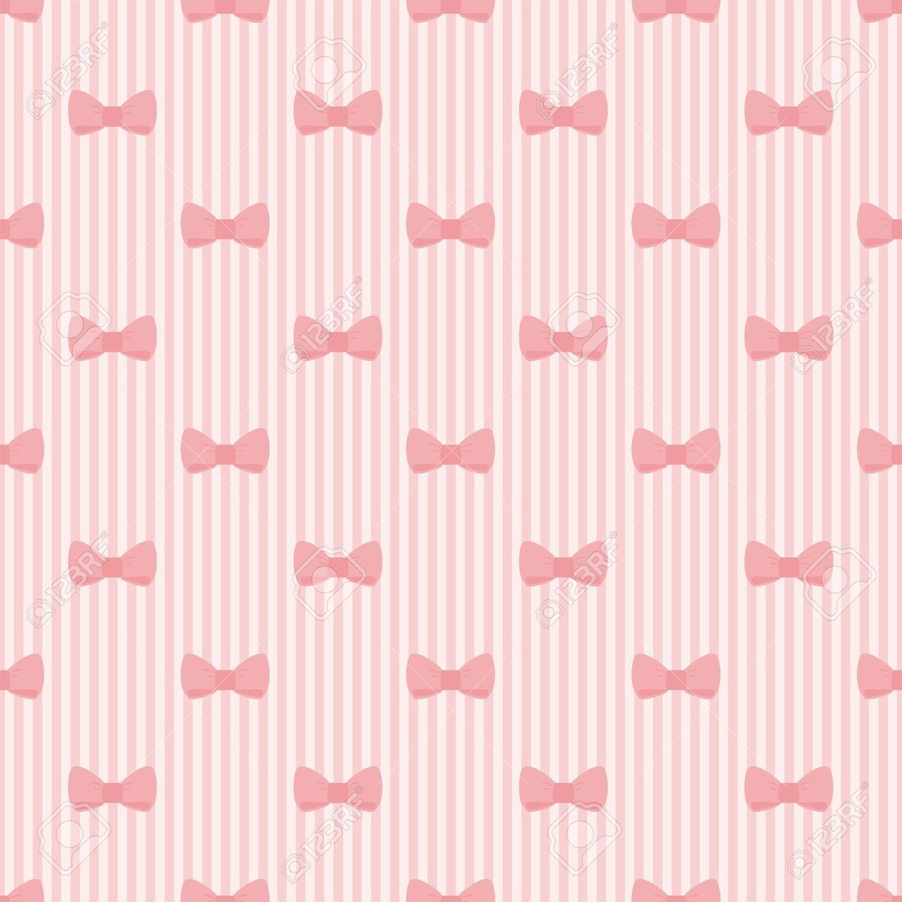 Seamless Pink Bow And Stripes Background Cute Baby Pattern Or
