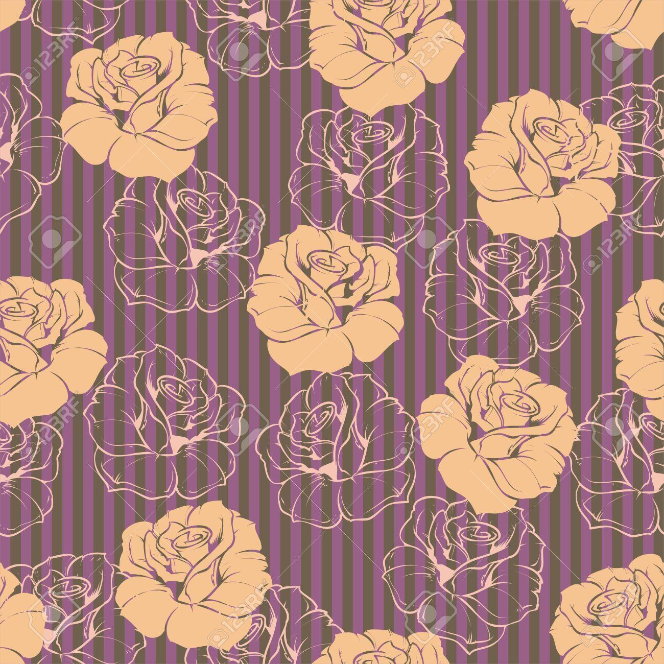 Seamless Vector Floral Vintage Pattern Elegant Pink Rose