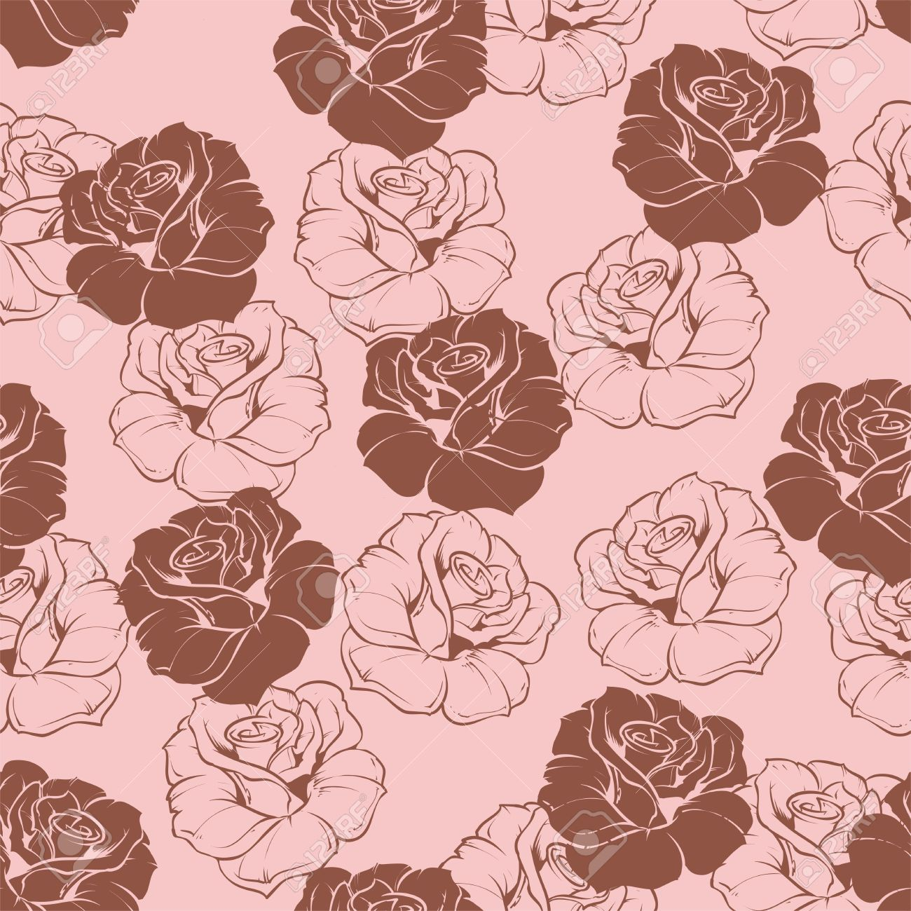 Seamless Vector Floral Pattern With Pink And Dark Chocolate