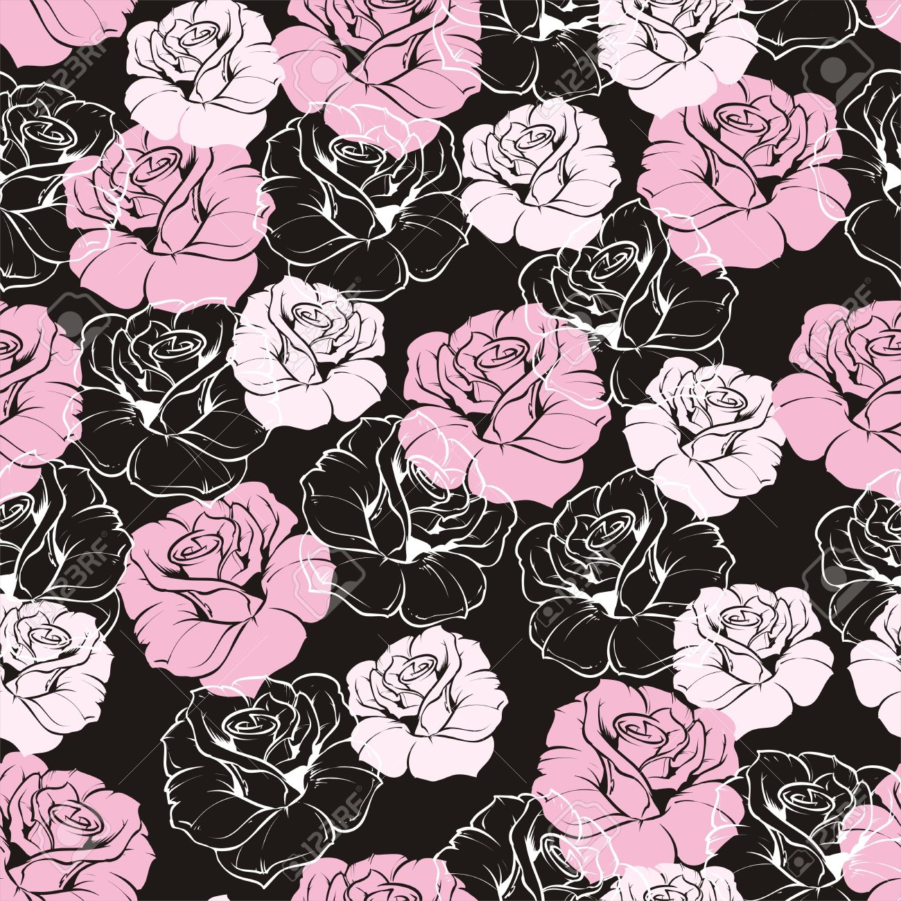 Seamless Floral Pattern With Pink And White Roses On Black