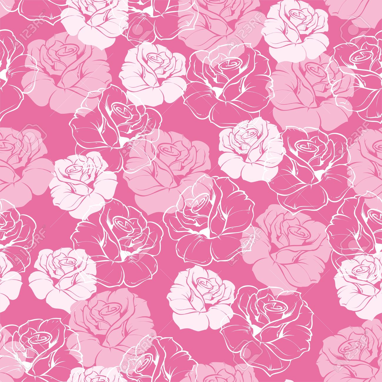 Seamless Floral Pattern With Pink And White Roses On Sweet Baby