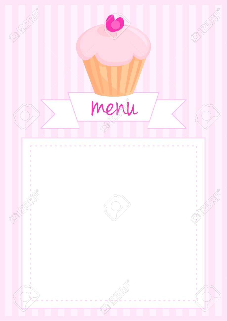 Vector restaurant menu wedding vector card list or baby shower vector vector restaurant menu wedding vector card list or baby shower invitation with sweet retro cupcake on pink vintage pattern or stipes texture stopboris Images