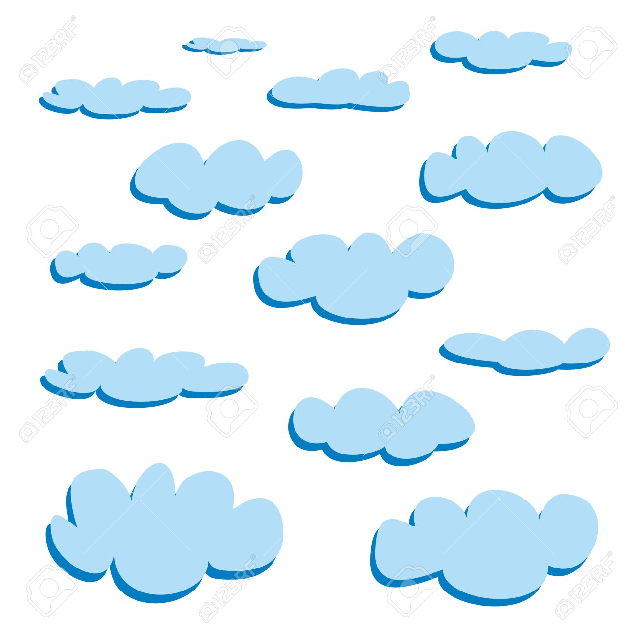 blue clouds isolated on white background vector set cloud rh 123rf com cloud vectors illustrator cloud vectors illustrator